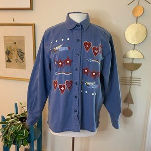 Vintage chambray embroidered button down
